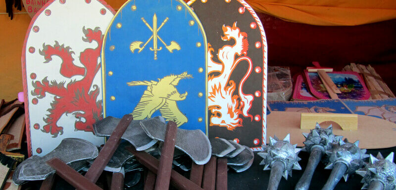 wooden shields and fake weapons