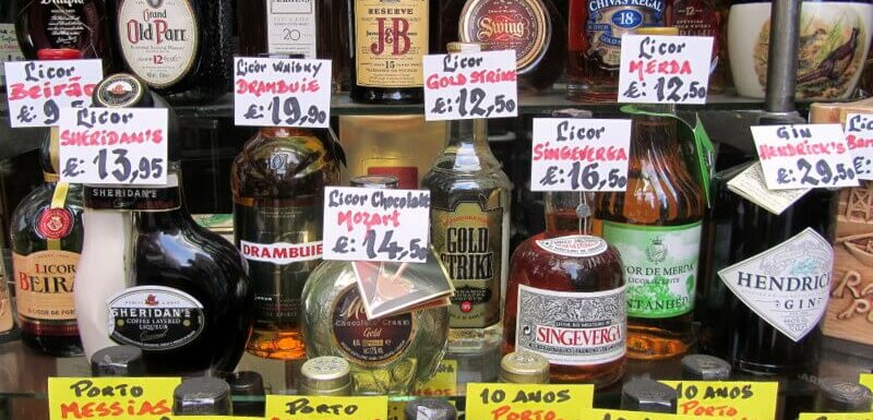 Portuguese wines and spirits on display