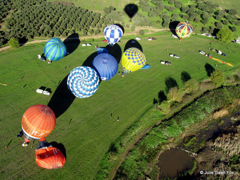 hot air balloons ready for take off