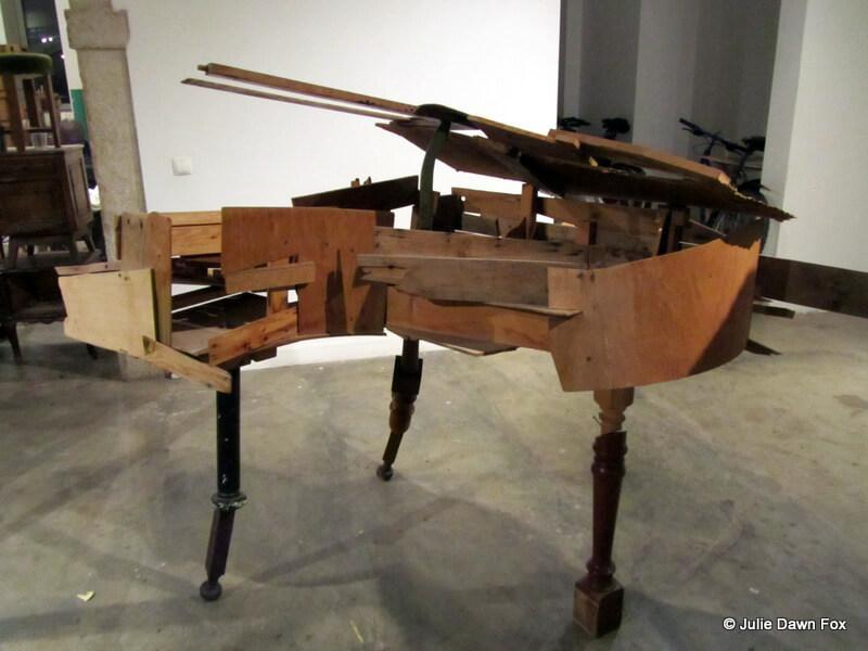 wooden piano made out of old furniture