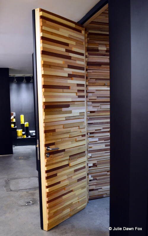 wooden interior of toilet cubicle