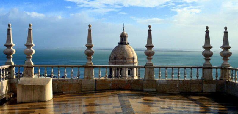 View of Lisbon National Pantheon and River Tagus from São Vicente da Fora monastery