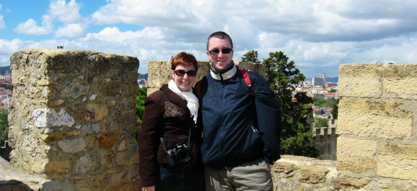Alison Cornford-Matheson and husband in Portugal