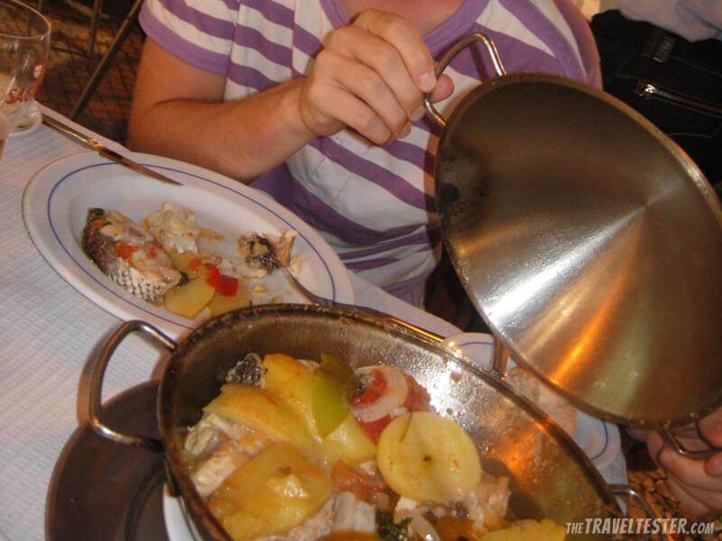 Portuguese cataplana, i.e. seafood casserole