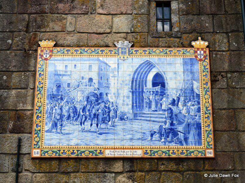 Azulejo panel of Dom João IV arriving in Ponte da Lima