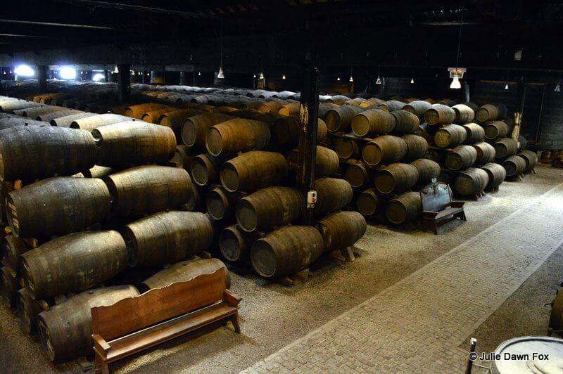 Row upon row of port wine barrels, Real Companhia Velha cellars, Porto