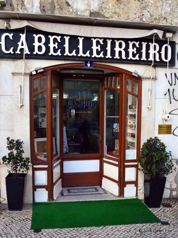 Shop front, Barbearia Campos, Lisbon