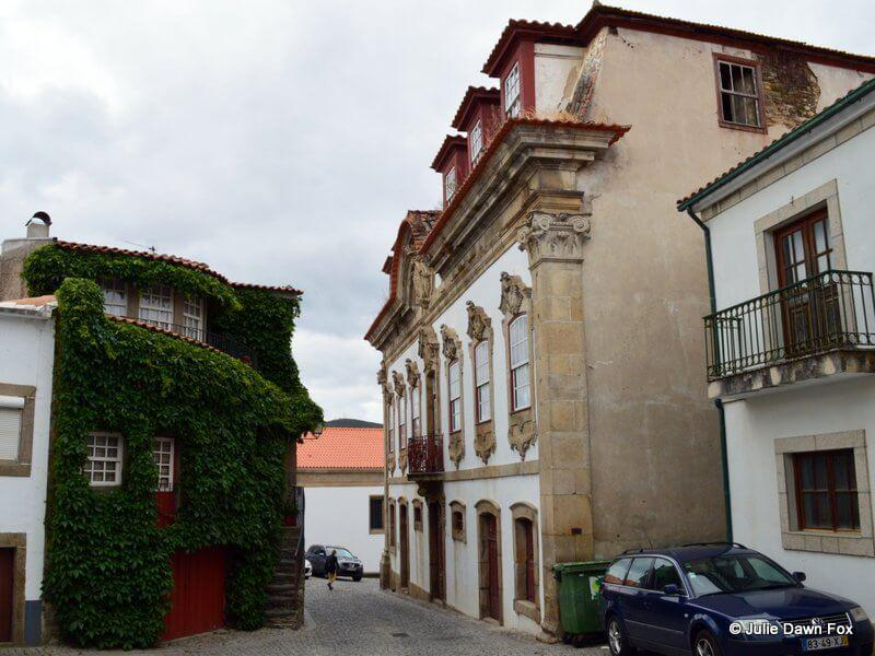 Contrasting styles of houses, Provesende, Douro valley, Portugal