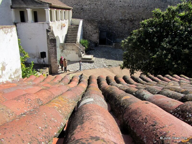Curved red thigh tiles on a roof in Elvas castle