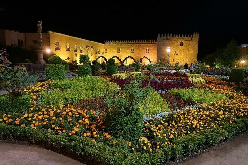 Santa Barbara Gardens at night, Braga, Portugal