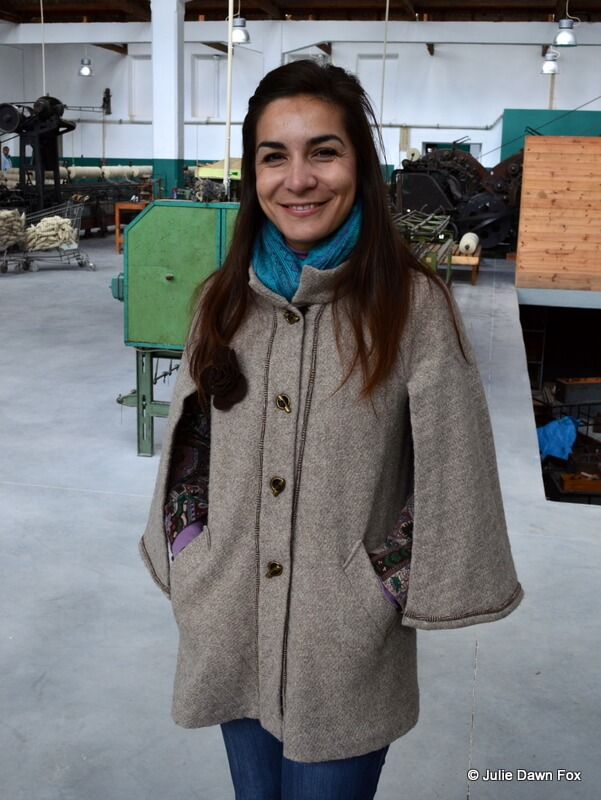 Silvia models a Miguel Gigante Burel jacket at the Burel factory in Manteigas, central Portugal