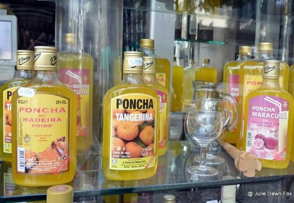 Various ponchas, Funchal. Some of the many food and drink in Madeira