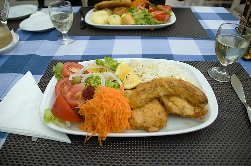 Scabbard fish with Madeiran banana. Typical Madeira food to try