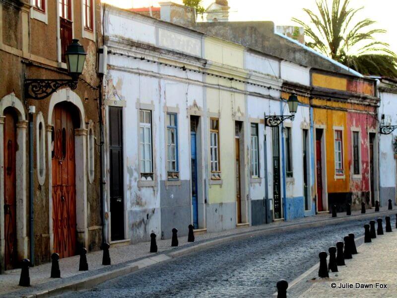 Colourful doorways in the historical centre of Faro, Algarve