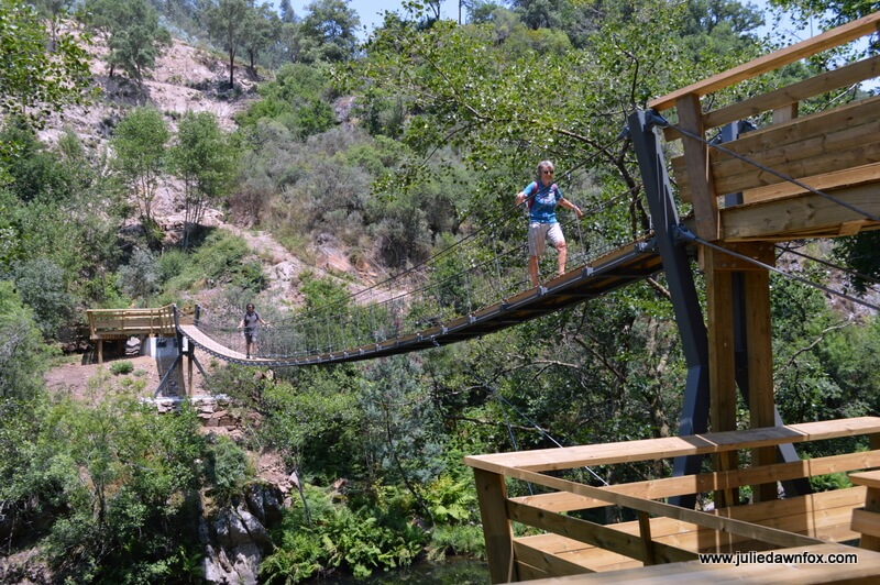 Almost there. The return journey across the suspension bridge, river Paiva.