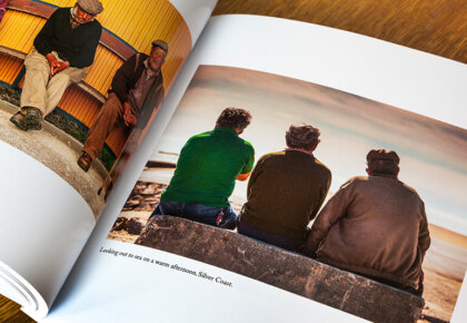 Men on benches. Pages from Two Hundred Days by Mark Benham