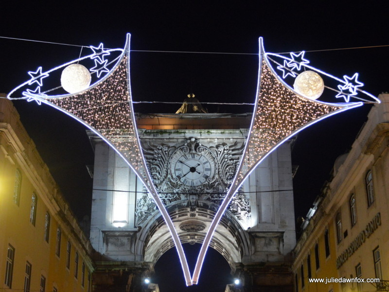Christmas lights, Rua Augusta, Lisbon Portugal
