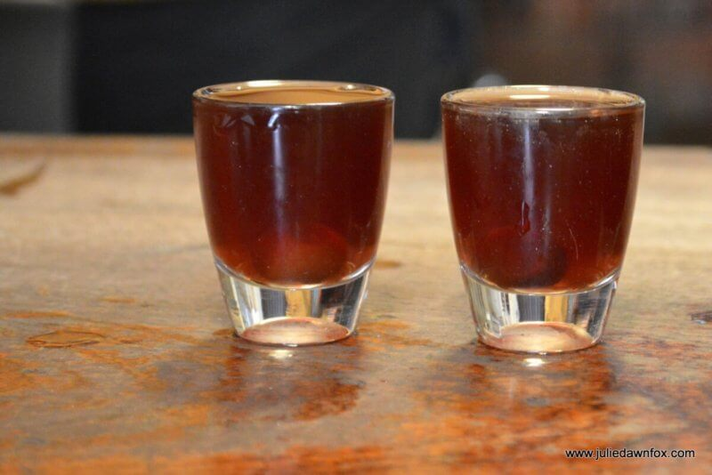 2 glasses of ginja with cherry