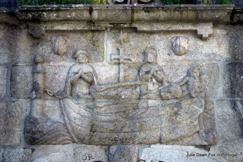 Stone carving of the boat carrying the body of St James, Funete del Carmen, Padrón, Spain