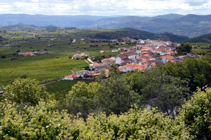 Favaios village and surrounding countryside, Douro Valley