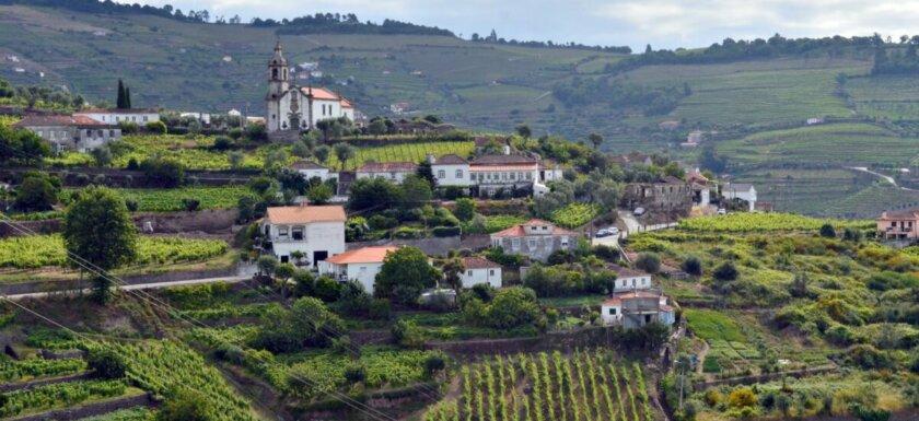 Village church, farmhouses and vineyards, Mesão Frio, Douro Valley