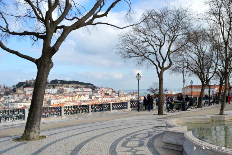 Admiring the views from São Pedro de Alcântara, Lisbon
