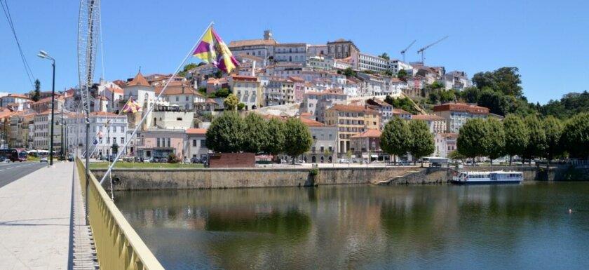 Coimbra and Mondego River from Santa Clara bridge