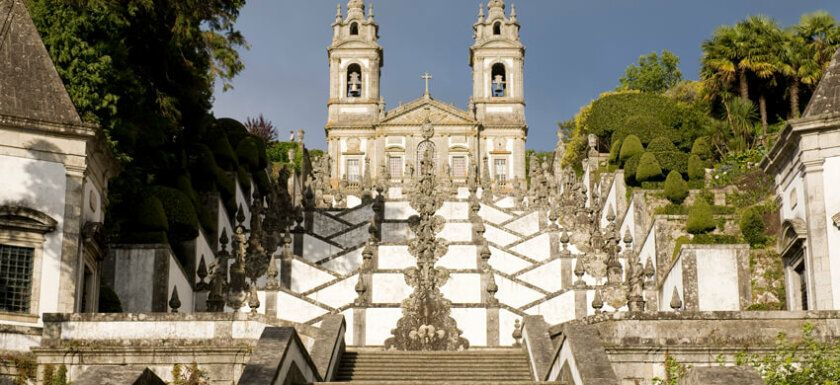 Bom Jesus in Braga Portugal. Monumental staircase and sanctuary. By PMRMaeyaert (Own work) [CC BY-SA 3.0 (http://creativecommons.org/licenses/by-sa/3.0)], via Wikimedia Commons