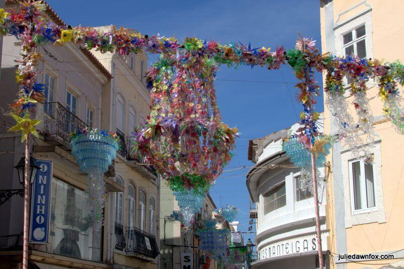 Creative recycling. Street decorations in the streets of Setúbal Portugal