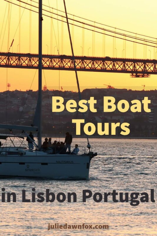 Sailing boat at sunset. Best Lisbon Boat Tours