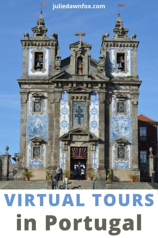 Front view of blue tiled cathedral, Porto, Portugal.