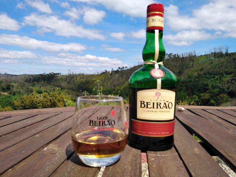 Bottle and glass of Licor Beirão