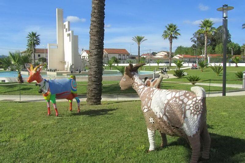Decorated goats in Jardim à Raça Poiarense, Vila Nova de Poiares