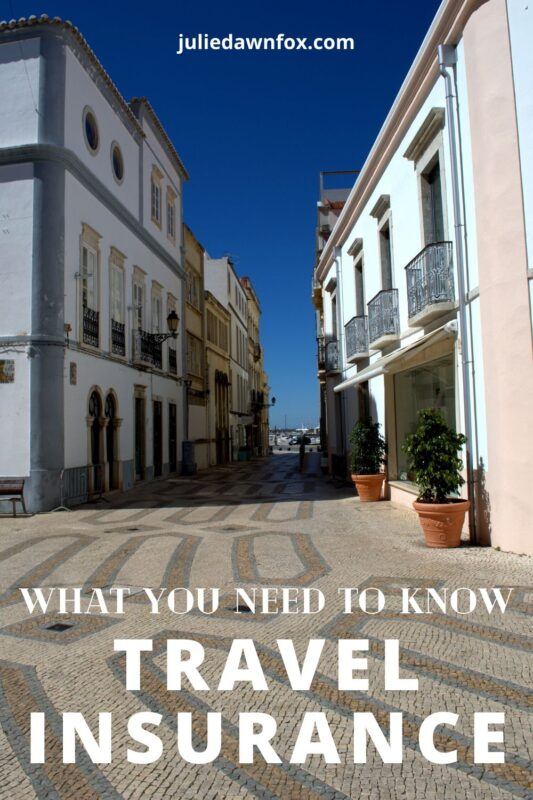 Paved street in Faro. Travel insurance in a pandemic.
