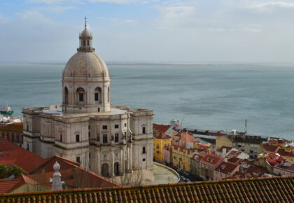 View of Lisbon museum with sea in background.