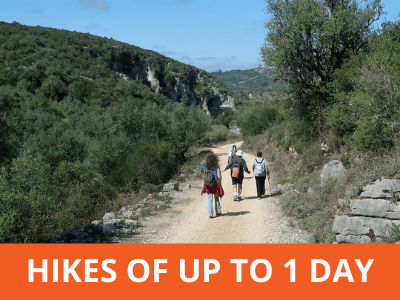 Group of hikers in Portugal. Short guided hikes